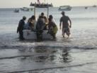 Saliendo de la barca